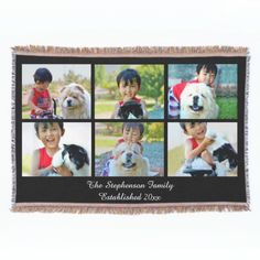 Personalized 6 Custom Photo Mosaic Picture Collage Throw Blanket. Perfect Customizable Holiday Christmas gift!