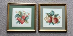 Pair of framed & mounted, vintage Needlepoint Cross Stitch Pictures of fruit. Cottage Farmhouse, Farmhouse Chic, Fruit Picture, Cross Stitch Pictures, Needlepoint, Cross Stitch Patterns, Shabby Chic, Country, Unique Jewelry