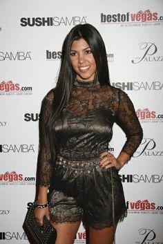 Kourtney Kardashian wearing Bebe Collection romper Jimmy Choo Coco Black Studded Clutch. Kourtney Kardashian BestOfVegas.Com Launch Party at Sushi Samba August 19 2008.