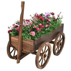 Our wooden wagon cart is a kind garden planter. With its rustic design and antique look, you will complement your outdoor décor. The fir wood construc., Giantex Wood Wagon Planter Pot W/Wheels Home Garden Outdoor Decor Backyard Planters, Wooden Garden Planters, Flower Planters, Garden Pots, Flower Pots, Garden Bed, Garden Ideas, Potted Garden, Beer Garden
