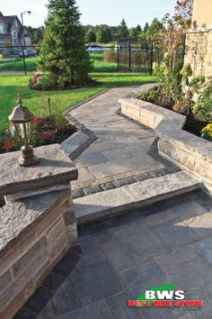 Best Way Stone > Paver: Trevista (Beige Mix) with Corso (Ultra Black) border. #outdoor #landscape #walkway