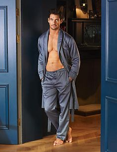 David Gandy - Slim Fit Supima® Cotton Herringbone Pyjama Bottoms