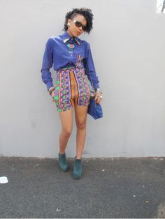 Vintage some-what 80's style clothing. I could never pull this off but, it look really awesome on her