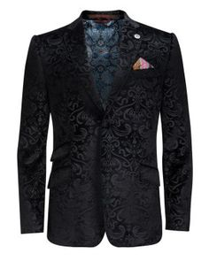 Men's Party Wear Self Design Smoking Blazer Premium Fabric Two Button Notch Collar Men's Fashion, Mens Fashion Suits, Mens Suits, Mens Party Wear, Smoking Jacket, Jacket Pattern, Black Blazers, Wedding Suits, Well Dressed
