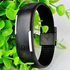 Reloj Unisex Sport Tactil de LED Rojo digital Silicona mujer hombre Color Negro.