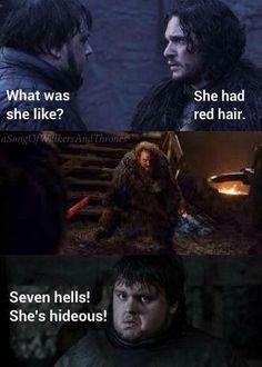 GoT funny memes - Jon and Sam: she's hideous!