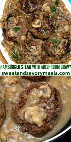 Hamburger Steak with Mushroom Gravy is an easy recipe made with seasoned ground beef simmered in a rich and creamy mushroom sauce. #hamburgersteak #beefrecipes #gravy #sweetandsavorymeals #budgetmeals