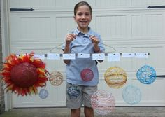 Solar system project with balloon, string planets and a foam Sun!