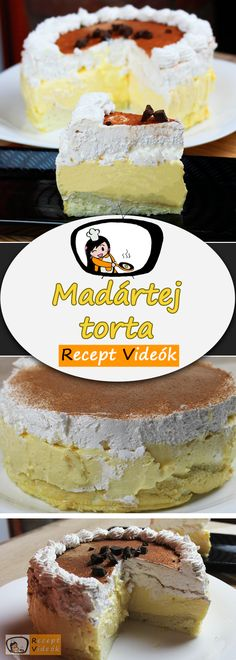 MADÁRTEJ TORTA RECEPT VIDEÓVAL - madártej torta készítése Tiramisu, Pie, Sweets, Cookies, Ethnic Recipes, Food, Torte, Crack Crackers, Cake