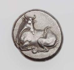 Statere - argento - Eretria (lega Eubea 375-357 a.C.) - toro seduto vs.sn. la testa girata indietro a leccarsi il fianco - Bull lying to left, head to right, licking his left flank - Boston