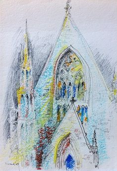 pastel 1969, cathedral drawing from one of dad's travels - Wynand Smit Snr Artist / Architect