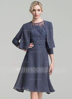 A-Linie Princess-Linie U-Ausschnitt Knielang Chiffon Kleid für die  Brautmutter mit Perlstickerei Pailletten (008091941) 9ef6e79926