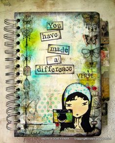 Personalized mixed media notebook created using the Cinch binding tool.