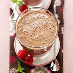 Chocolate and raspberry smoothie. For the full recipe, click the picture or visit RedOnline.co.uk