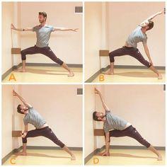 #warrior2 #sideanglepose #reversewarrior #yogablocks #yogaprops Yin Yoga, Yoga Meditation, Wall Yoga, Chair Yoga, Iyengar Yoga, Best Yoga, Warrior 2, Standing Poses, Stretching