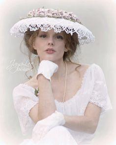 Victorian Rose Wide Brim Hat Lace Wedding Hat by GreenTrunkDesigns