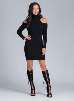 Cold Shoulders Warm Heart Sweater Dress BLACK - GoJane.com