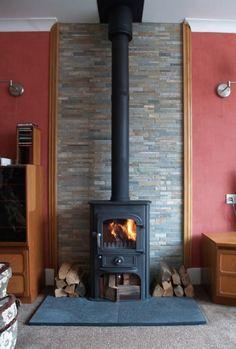 Image result for tile behind freestanding wood stove