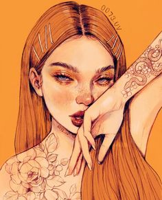 Discovered by d e s t ¡ n y ○. Find images and videos about art, flowers and drawing on We Heart It - the app to get lost in what you love. Pretty Art, Cute Art, Arte Sketchbook, Digital Art Girl, Art Drawings Sketches, Portrait Art, Aesthetic Art, Orange Aesthetic, Cartoon Art