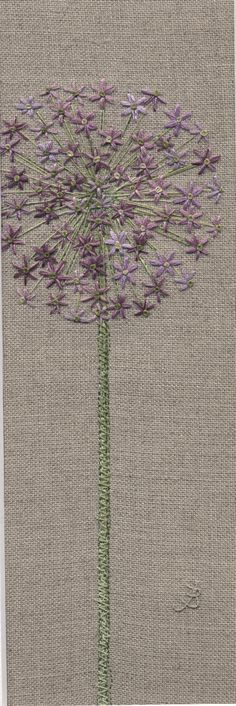 Jo Butcher, Embroidery Artist - Allium Head Part of my flower tattoo-maybe a bouquet of culinary flowers? - Crafting Endeavour