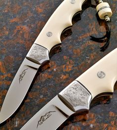 """Steel: CPM 154   3 3/4″ blade Handle material/fob thru tang tube: pre-banned Elephant Ivory. Bolsters : sterling silver Engraving: Kevin Elkins Museum's """"Choice"""" at the Knifemaker's Guild 2009 http://www.moencustomknives.com Like Us on Facebook! https://www.facebook.com/jerry.moen.92"""