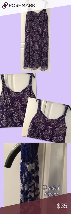 Maxi dress with beaded shoulder straps NWOT Beautiful purple maxi dress with beaded shoulder straps & gathered bust.  It's completely lined & has gold, glittery threading.  Made of silk with polyester.  Removed label but Never worn. I.N.C. Woman Dresses Maxi