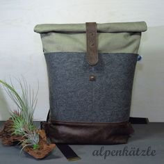 Rucksack Washed Canvas Rolltop // Filz-Leder