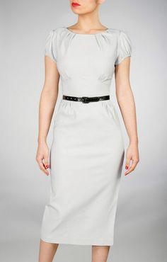 "Classic ""Ashley"" dress in Dove Gray via jenclothing.com"