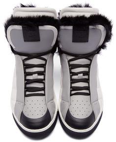 Fendi - Tricolor Fur-Trimmed Monster High-Top Sneakers