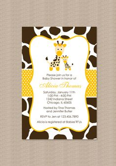 Yellow Giraffe Baby Shower Invitations by Honeyprint on Etsy, $15.00 @Jennifer Verissimo Triplett