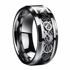 D&J Jewelry Stainless Steel Celtic Dragon Men's Wedding Band Engaement Ring Size 8 STR15