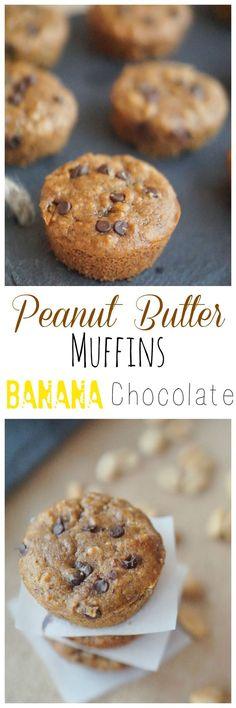 Make my Healthy Gluten Free Peanut Butter Banana Chocolate Muffins! #ad #healthysnack #recipe