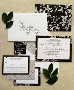 This romantic black and white wedding invitation suite with traditional calligraphy is the perfect way to signal a slightly formal, yet glamorous theme.