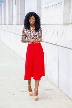Leopard Print Shirt + Circle Midi Skirt from Style Pantry