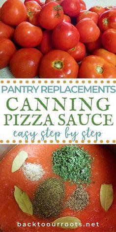 Canning Pizza Sauce, Tomato Pizza Sauce, Tomato Pasta Recipe, Homemade Tomato Sauce, Canning Vegetables, Canning Tomatoes, Tomato Canning Ideas, Good Pizza, Italian Foods