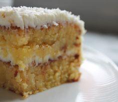 Mazarine Cake with Coconut and Lemon Cream- Mazarinkage med Kokos og Citroncreme - Baking Recipes, Snack Recipes, Dessert Recipes, Desserts, Snacks, Danish Dessert, Danish Food, Lemon Cream Cake, Sweets Cake