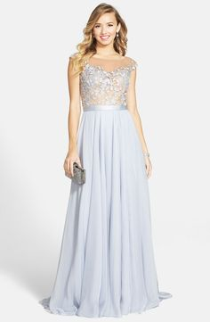 Cap Sleeve Lace & Chiffon Gown Chiffon Skirt, Lace Chiffon, Sherri Hill Gowns, Evening Dresses, Prom Dresses, Formal Dresses, Glamour, Hollywood Fashion, Nordstrom Dresses