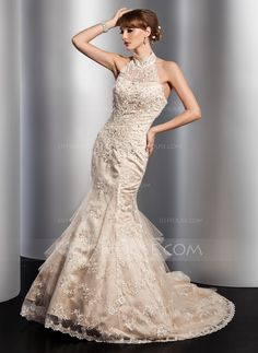 Wedding Dresses - $216.99 - Mermaid High Neck Chapel Train Satin Tulle Wedding Dress With Lace Beadwork Sequins (002012763) http://jjshouse.com/Mermaid-High-Neck-Chapel-Train-Satin-Tulle-Wedding-Dress-With-Lace-Beadwork-Sequins-002012763-g12763?ver=xdegc7h0