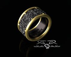 ornate 14kt and black wide mens band ring. Detailed damask in black English…