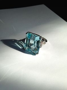 Vintage 36 Ct. Aquamarine Ring in 14k White Gold Setting - Dazzling Emerald Cut , I'll take a fake one : )