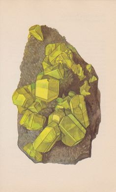 Vintage Print Rocks and Minerals Sulphur by PineandMain on Etsy. $6.00, via Etsy.