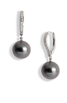 Mikimoto Diamond & Black South Sea Cultured Pearl Earrings #nordstrom