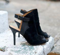 black suede booties with peep toe