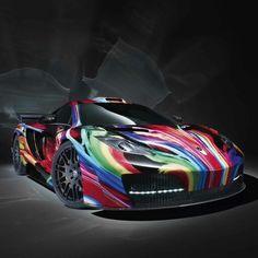 Cool colourful rainbow car
