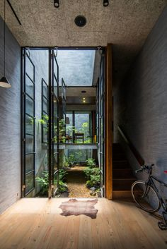 Green, wood, cement, glass