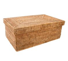 Summerville Handwoven Rattan Rectangular Storage Box With Lid | Pottery Barn