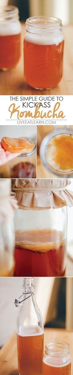 A complete guide on how to make kombucha, all the way from the SCOBY to the fruity fermenting flavors! You just need tea, sugar, and a bottle of store-bought kombucha to get started! // Live Eat Learn