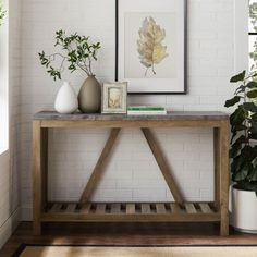 Walker Edison Furniture Co. Dark Concrete Entryway Table in Dark Walnut/Gold Brown, Contemporary & Modern Narrow Entry Table, Front Entry Tables, Entrance Table, Entryway Tables, Industrial Farmhouse Decor, Farmhouse Style, Sofa Table Decor, Living Room Cabinets, Concrete Furniture
