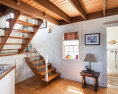 My Houzz: Rustic Summer Home in Heritage Community Trinity - traditional - staircase - other metro - Becki Peckham. What I love: the openness of the staircase, plentiful windows, white/light walls, wood ceilings and floors. Home Stairs Design, Interior Staircase, Open Staircase, House Design, Staircase Landing, Design Design, Design Ideas, Traditional Staircase, House Stairs