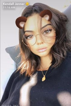 Strike a pose: Kendall also used the filter that added animal ears and glasses to her face...